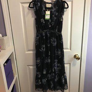 Kate Spade Night Rose Chiffon Midi Dress